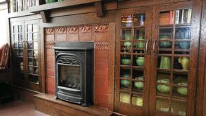 Hearth anchors the dining area.
