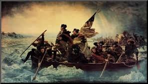 Washington crosses the icy Delaware River on Christmas Day 1776.
